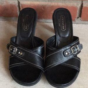 Coach Kerina Black Pebbled Leather Sandals 8.5